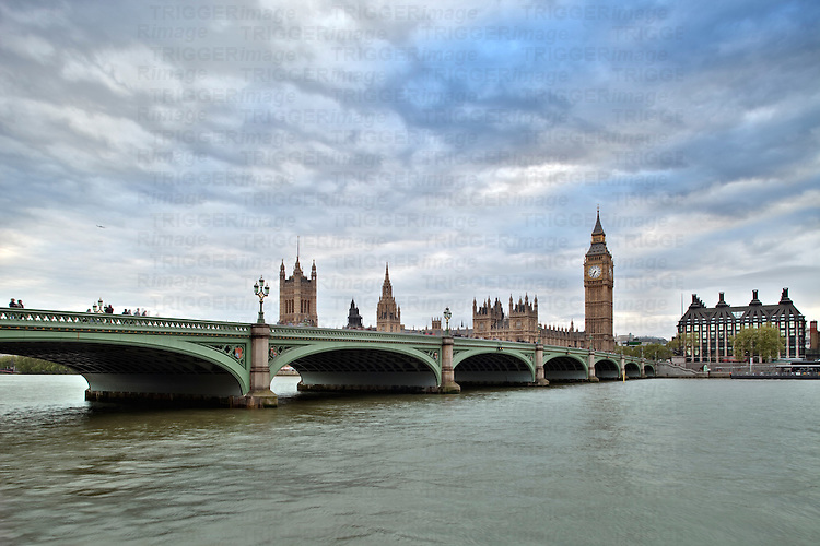 Westminster bridge over the Thames with the Big Ben and the City of Westminster on the background. London, England, United Kingdom