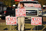 Rosalyn Pickens holds a sign outside the old National Guard Armory in Oxford, Miss. on Tuesday, November 8, 2011. Mississippians go to the polls today for state and local elections, as well as referendums including the so-called Personhood Amendment.