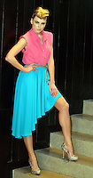 ***NO REPRODUCTION FEE PICTURE***.01/02/12 Sarah Morrissey wears a Stepped Hem Skirt at EUR40 , Turquoise Plaited Belt at EUR12 and Pink Blouse at EUR30 pictured at the Morrison Hotel, Dublin this morning at the launch of the A Wear Spring Collection 2012...Picture Colin Keegan, Collins, Dublin. .***NO REPRODUCTION FEE PICTURE***