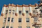 Apartment building in the Nob Hill neighborhood of San Francisco, California with gold embellishments and ornate details