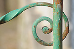 A detail of a green iron fence in Bellagio on Lake Como, Italy.