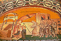 The 11th century Roman Byzantine Church of the Holy Saviour in Chora and its mosaic of the giving of the verdant stick with shoots that indicated joseph as Mary's fiance (panel H-43).  Endowed between 1315-1321  by the powerful Byzantine statesman and humanist Theodore Metochites. Kariye Museum, Istanbul