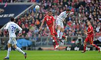 FUSSBALL   1. BUNDESLIGA  SAISON 2011/2012   23. Spieltag  26.02.2012 FC Bayern Muenchen - FC Schalke 04        Jerome Boateng (Mitte li, FC Bayern Muenchen) gegen Klaas Jan Huntelaar (FC Schalke 04)