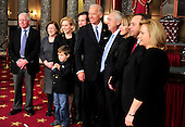 United States Senator Kirsten Gillibrand (Democrat of New York), poses for a group photo wuith members of her family during the photo-op of the reenactment of her swearing-in in the Old Senate Chamber in the U.S. Capitol in Washington, D.C. on Wednesday, January 5, 2011.  t..Credit: Ron Sachs / CNP.(RESTRICTION: NO New York or New Jersey Newspapers or newspapers within a 75 mile radius of New York City)