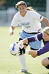 7 November 2007: North Carolina's Maria Lubrano (91) cannot beat Clemson goalkeeper Ashley Phillips (right) to the ball in the penalty area. The University of North Carolina defeated Clemson University 3-0 at the Disney Wide World of Sports complex in Orlando, FL in an Atlantic Coast Conference tournament quarterfinal match.