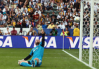 CARSON, CA - DECEMBER 01, 2012:   Josh Saunders (12) of the Los Angeles Galaxy watches a shot from Calen Carr (3)of the Houston Dynamo go past him for the Dynamo's goal during the 2012 MLS Cup at the Home Depot Center, in Carson, California on December 01, 2012. The Galaxy won 3-1.