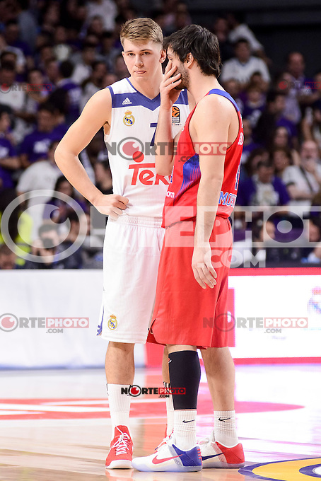 Real Madrid's Luka Doncic and CSKA Moscow Milos Teodosic during Turkish Airlines Euroleague match between Real Madrid and CSKA Moscow at Wizink Center in Madrid, Spain. January 06, 2017. (ALTERPHOTOS/BorjaB.Hojas)
