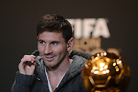 Fussball International  FIFA Ballon d Or / Weltfussballer 2012   PK   07.01.2013 Lionel Messi (Argentinien)