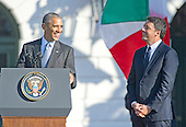United States President Barack Obama makes remarks during an arrival ceremony at the start of an Official Visit in honor of Prime Minister Matteo Renzi and Mrs. Agnese Landini of Italy on the South Lawn of the the White House in Washington, DC on Tuesday, October 18, 2016. <br /> Credit: Ron Sachs / CNP