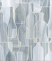Bottles, a glass waterjet mosaic shown in Pearl, is part of the Erin Adams Collection for New Ravenna Mosaics.