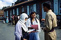 France 1989 <br /> In the military camp of Lastic, the arrival of Iraqi Kurdish immigrants  <br /> France 1989<br /> L'arrivee au camp militaire de Lastic des immigrants kurdes irakien