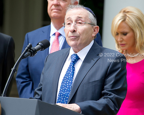 Rabbi Marvin Hier, president Simon Wiesenthal Center, offers a prayer prior to United States President Donald J. Trump signing a Proclamation designating May 4, 2017 as a National Day of Prayer and an Executive Order &quot;Promoting Free Speech and Religious Liberty&quot; in the Rose Garden of the White House in Washington, DC on Thursday, May 4, 2017.<br /> Credit: Ron Sachs / CNP