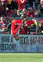 30 March 2013:Toronto FC forward Robert Earnshaw #10 celebrates with his trademark front flip after scoring a goal on an open net during an MLS game between the LA Galaxy and Toronto FC at BMO Field in Toronto, Ontario Canada..The game ended in a 2-2 draw..
