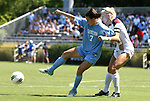 11 September 2011: North Carolina's Kealia Ohai (7) and Texas A&M's Rachel Lenz (right). The Texas A&M Aggies defeated the University of North Carolina Tar Heels 4-3 in overtime at Koskinen Stadium in Durham, North Carolina in an NCAA Division I Women's Soccer game.