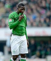 FUSSBALL   1. BUNDESLIGA   SAISON 2012/2013    26. SPIELTAG SV Werder Bremen - Greuther Fuerth                        16.03.2013 Assani Lukimya (SV Werder Bremen) ist enttaeuscht