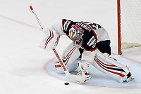 American goalkeeper Jimmy Howard catches the puck during the Ice Hockey World Championship quarter-final match between the US and Finland in the Lanxess Arena in Cologne, Germany, 18 May 2017. Photo: Monika Skolimowska/dpa /MediaPunch ***FOR USA ONLY***