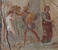 Fresco of Helen and Menelaus on the left and Priam on the right (to the right of this is Ajax dragging Cassandra from the Palladium), scene from Homer's Iliad, from the North wall of the East ala of the Casa del Menandro, or House of Menander, Pompeii, Italy. This room is painted in the Fourth Style of Roman wall painting, c. 60–79 AD, a complex and Baroque style. Also known as the House of the Silverware, this is one of the largest and most elegant houses in Pompeii, belonging to the Poppei family and built in the 3rd century BC. Pompeii is a Roman town which was destroyed and buried under 4-6 m of volcanic ash in the eruption of Mount Vesuvius in 79 AD. Buildings and artefacts were preserved in the ash and have been excavated and restored. Pompeii is listed as a UNESCO World Heritage Site. Picture by Manuel Cohen