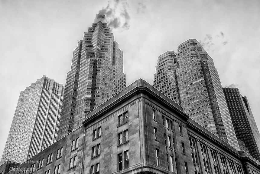 A Toronto view in black and white from Front Street of the financial towers.