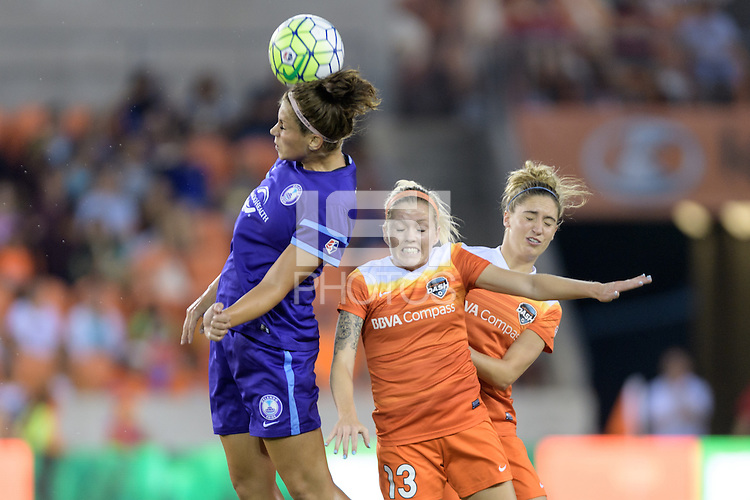 Houston, TX - Saturday Sept. 03, 2016: Sarah Hagen, Denise O'Sullivan, Morgan Brian during a regular season National Women's Soccer League (NWSL) match between the Houston Dash and the Orlando Pride at BBVA Compass Stadium.
