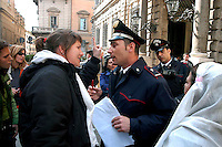 Roma 17 Marzo 2008.Manifestazione delle donne di Action, con il velo da sposa, davanti a Palazzo Grazioli residenza di Silvio Berlusconi, per protestera contro le affermazioni di Silvio Berlusconi  che aveva detto: che se una donna era in difficolta economiche poteva provare a sposare un milionario..Rome 17 March 2008  .Manifestation of women of Action, with the bridal veil, in front of Palazzo Grazioli residence of Silvio Berlusconi, to protest against the statements of Silvio Berlusconi  who had said: if a woman were in economic difficulty she could try to marry a millionaire. The banner reads : But which marriage? Income of citizenship!!