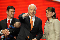 ST PAUL, MN - September 3, 2008: Republican Presidential nominee John McCain and Alaska Governor and Republican Vice Presidental nominee Sarah Palin at the 2008 Republican National Convention at the Excel Center in St. Paul, Minnesota.