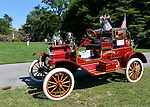 Old Westbury, New York, United States. 7th June 2015. A red 1914 Ford Model T Chemical Fire Truck is featured at the 50th Annual Spring Meet Car Show sponsored by Greater New York Region Antique Automobile Club of America. Over 1,000 antique, classic, and custom cars participated at the popular Long Island vintage car show held at historic Old Westbury Gardens.