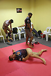 Warm up in red corner locker room<br />