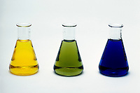 BROMOTHYMOL BLUE AS CHEMICAL INDICATOR<br /> Bromothymol Blue Indicates Three pH Levels<br /> pH levels from left to right are 5 (yellow), 7 (green), and 9 (blue).