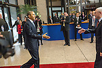 The United States President Barack Obama, left, arrives to the European Council welcomed by Herman Van Rompuy, President of the European Council prior a meeting in the EU-US Summit, in Brussels, Wednesday 26, March 2014. This is the first visit for President Barack Obama to the European Institutions in Brussels. Photo by Delmi Alvarez
