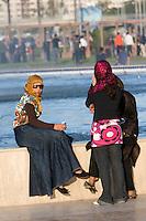Tripoli, Libya, North Africa - Modern Libyan Women's Clothing Styles as seen in Public Park near the Green Square, downtown Tripoli.
