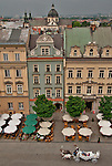 The Main Market Square in Krakow, Poland as seen from the top of the Town Hall Tower. The Main Market Square in Krakow, Poland is the largest medieval square in Europe and dates back to the 13th century