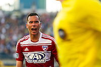 Blas Perez (7) of FC Dallas yells at the sideline official. The Philadelphia Union and FC Dallas played to a 2-2 tie during a Major League Soccer (MLS) match at PPL Park in Chester, PA, on June 29, 2013.