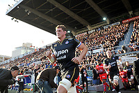 Stuart Hooper of Bath Rugby leads his team out onto the field. European Rugby Champions Cup match, between RC Toulon and Bath Rugby on January 10, 2016 at the Stade Mayol in Toulon, France. Photo by: Patrick Khachfe / Onside Images