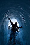 Walking through the ice tunnel on the Aiguille de Midi, Mont Blanc, France.