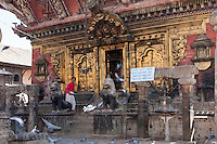 Nepal, Changu Narayan Temple, Western Entrance, before April 2015 earthquake.  The temple was heavily damaged in the earthquake, but will be repaired.  This shows the torana, the elaborate brass gateway to the temple.