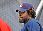 29 March 2008: Washington Nationals first baseman Dmitri Young awaits his turn in the batting cage prior to an exhibition game against the Baltimore Orioles at Nationals Park, in Washington, DC. The matchup is the first professional game to be played in the new ballpark, prior to the upcoming official opening day inaugural game. ..Mandatory Photo Credit: Ed Wolfstein Photo