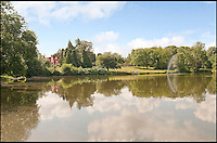 BNPS.co.uk (01202 558833)<br /> Pic: CarterJonas/BNPS<br /> <br /> ***Please Use Full Byline***<br /> <br /> The lake at Little Easton manor. <br /> <br /> <br /> One of Britain's most historic country houses which boasts a theatre that has played host to Charlie Chaplin and H.G. Wells has gone on the market with a &pound;5 million price tag.<br /> <br /> In the early 1900s the sprawling estate's tithe barn was transformed into a theatre in which the great and the good of the acting world flocked to perform.<br /> <br /> Edwardian actress Ellen Terry gave poetry readings there while War of the Worlds author H.G. Wells, who lived with his family in a house on the estate, also frequented the theatre.<br /> <br /> Other regular performers included Charlie Chaplin, Gracie Fields and George Formby.<br /> <br /> In more recent years it has welcomed famous faces such as Rowan Atkinson, Bill Cotton, Tim Rice, Esther Rantzen and even the cast of Eastenders.<br /> <br /> The 17th century Grade II listed manor is on the market with Carter Jonas estate agents for &pound;5 million.