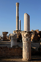 Low angle view of columns, and capitals in the Gymnasium of the Antonine Baths, with the Frigidarium column in the distance, Carthage, Tunisia, pictured on January 28, 2008, in the afternoon. Carthage was founded in 814 BC by the Phoenicians who fought three Punic Wars against the Romans over this immensely important Mediterranean harbour. The Romans finally conquered the city in 146 BC. Subsequently it was conquered by the Vandals and the Byzantine Empire. Today it is a UNESCO World Heritage. Founded in the 2nd Century by the Emperor Hadrian and completed by Antoninus Pius, the Antonine Baths were the largest outside the ancient city of Rome. Today, the basement, furnaces and fragments of carved and inscribed masonry remain of the highly complex structure, which included the Caldaria and Frigidarium (hot and cold baths). Picture by Manuel Cohen.