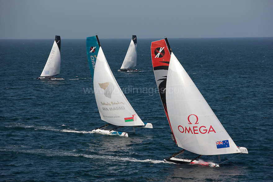 Extreme Sailing Series 2011. Leg 1. Muscat. Oman.Day 1 of racing. Team New Zealand,Oman Air, Team Extreme and Niceforyou