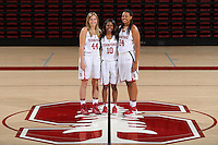 STANFORD, CA - September, 20, 2016: The 2016-2017 Stanford Women's Basketball Team. Karlie Samuelson (44), Briana Roberson (10), Erica McCall (24).