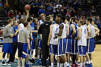 SAN ANTONIO, TX - MARCH 20, 2014: The Creighton University Bluejays meet the press and take the court during Practice Day at the 2014 NCAA Basketball Tournament 2nd and 3rd Rounds at the AT&T Center. (Photo by Jeff Huehn)
