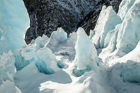Ice feature on Franz Josef Glacier in winter, Westland Tai Poutini National Park, West Coast, UNESCO World Heritage Area, South Westland, New Zealand, NZ