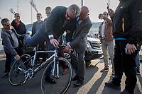Prince Laurent of Belgium trying out Greg Van Avermaet's (BEL/BMC) unique BMC<br /> <br /> 60th E3 Harelbeke (1.UWT)<br /> 1day race: Harelbeke &rsaquo; Harelbeke - BEL (206km)