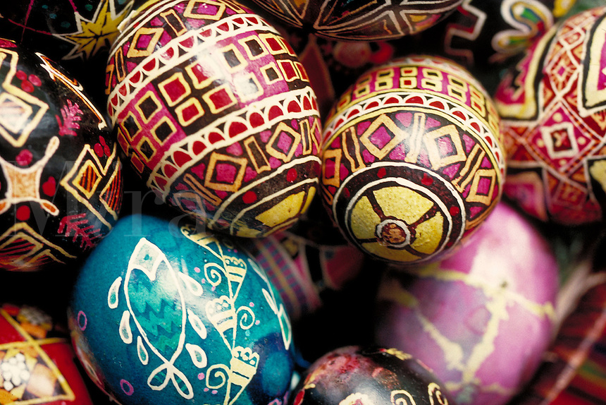 Close-up view of traditional Polish painted Easter eggs. Cleveland Ohio USA.