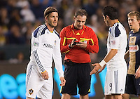 LA Galaxy players David Beckham (L-23) and Juan Pablo Angel R-(9) discuss Paul Ward call. The LA Galaxy defeated the Philadelphia Union 1-0 at Home Depot Center stadium in Carson, California on  April  2, 2011....