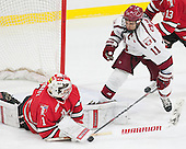 Cam Hackett (RPI - 1), Kyle Criscuolo (Harvard - 11) - The Harvard University Crimson defeated the visiting Rensselaer Polytechnic Institute Engineers 5-2 in game 1 of their ECAC quarterfinal series on Friday, March 11, 2016, at Bright-Landry Hockey Center in Boston, Massachusetts.