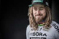 World Champion Peter Sagan (SVK/Bora-Hansgrohe) during the podium ceremony (he became 2nd)<br /> <br /> 72nd Omloop Het Nieuwsblad 2017
