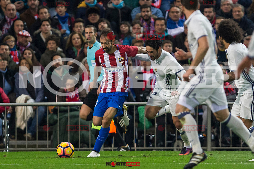 Atletico de Madrid's Juanfran Torres Real Madrid's Isco Alarcon during the match of La Liga between Atletico de Madrid and Real Madrid at Vicente Calderon Stadium  in Madrid , Spain. November 19, 2016. (ALTERPHOTOS/Rodrigo Jimenez) /NORTEPHOTO.COM