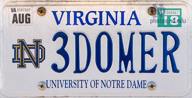 "March 8, 2017; License plate, Virginia, ""3DOMER"" (Photo by Matt Cashore/University of Notre Dame)"