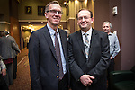 Joseph Shields, left, Vice President for Research & Creative Activity and Dean of Ohio University's Graduate College and Dr. Alexander Govorov, one of two Distinguished Professor Recipients, pose outside of the Distinguished Professor Award Ceremony at Ohio University's Baker Center Ballroom on Monday, February 20, 2017.